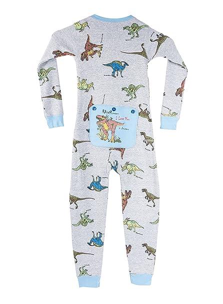 Big Feet Pajama Co. Dinosaurio juego de Unión pijamas T-Rex en la aleta