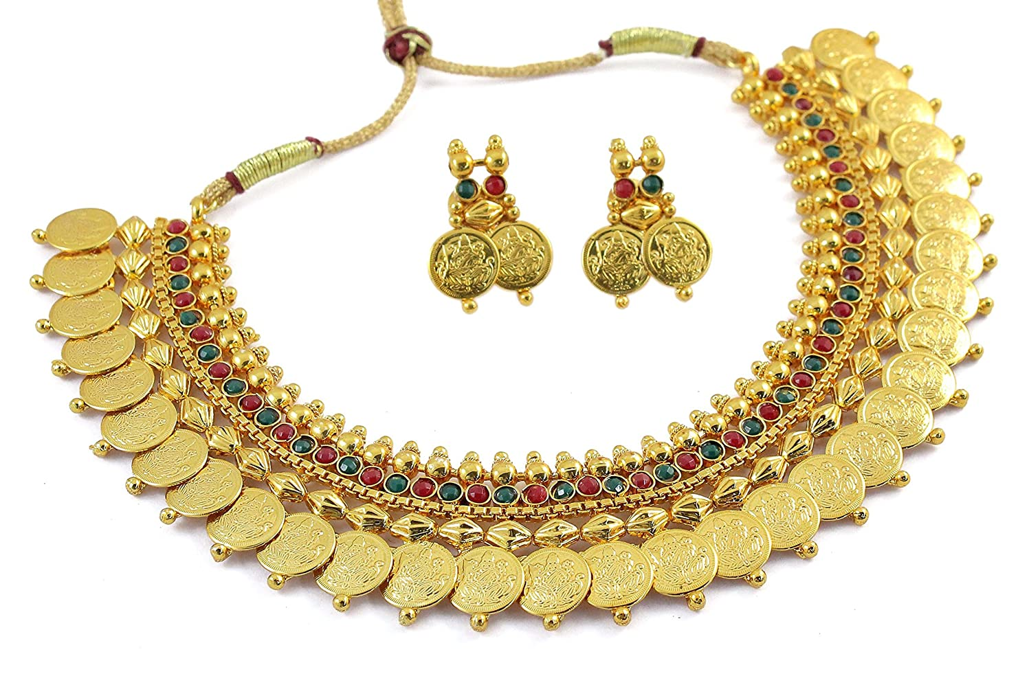 MUCH MORE Ethnic Gold Plated Temple Coin Ginni Necklace: Muchmore ...