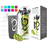Live Infinitely 32 oz. Fruit Infuser Water Bottles & Recipe eBook - Fun & Healthy Way to Stay Hydrated
