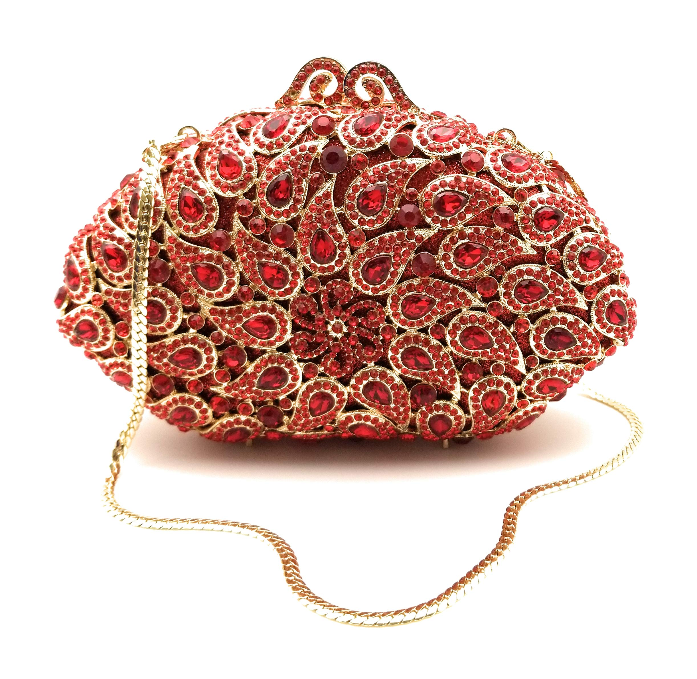 Crystal Designer Clutch Elegant Evening Handbag, Fancy Jeweled and Sparkly! (Red and Gold Paisley)