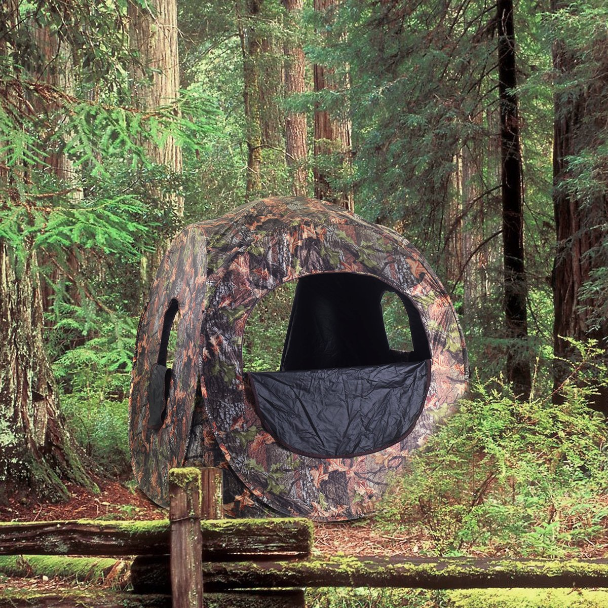 Tangkula Hunting Tent Portable Hunting Blind Pop Up Ground Blind 2-3 People Camo Waterproof with Backpack Hunting Enclosure by Tangkula (Image #2)