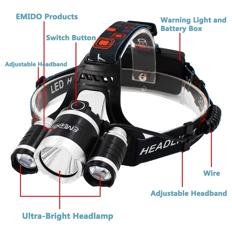 emido brightest led headlamp 4 modes waterproof led