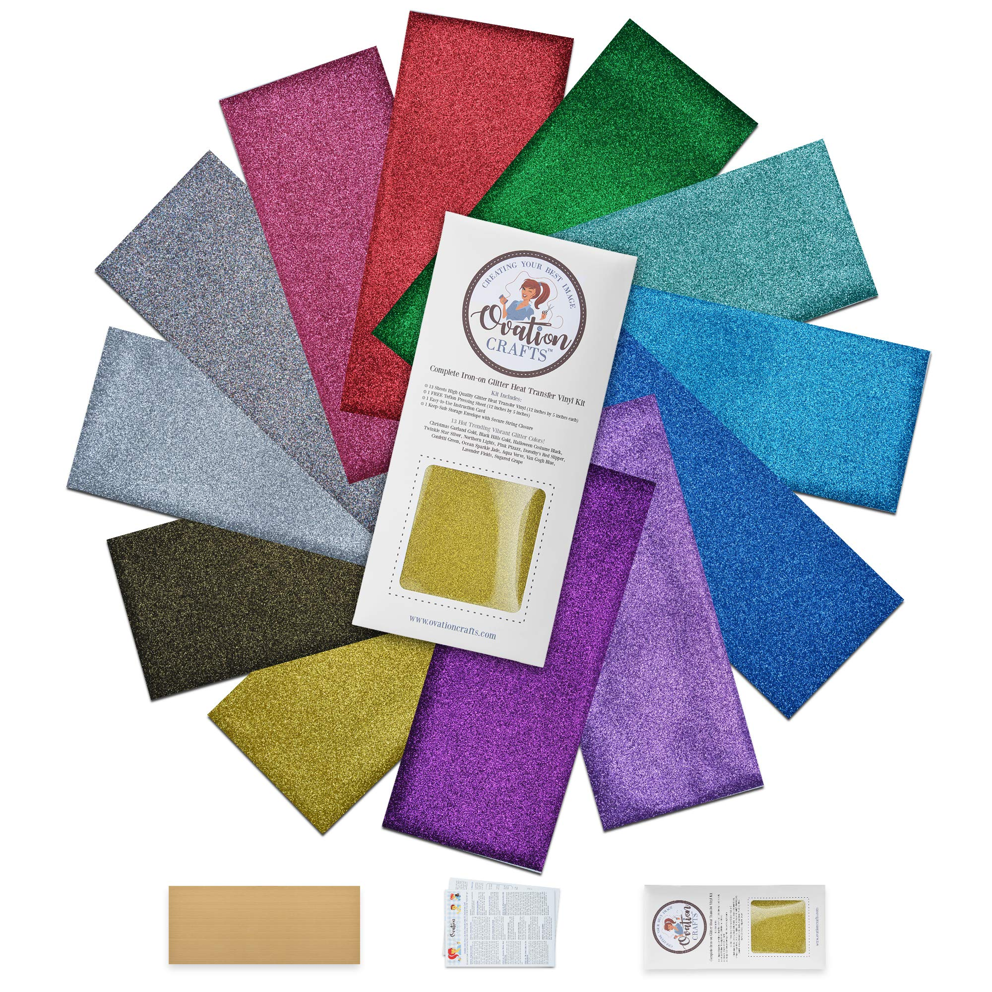 Ovation Crafts HTV Stretch Glitter Vinyl-Heat Transfer-Iron On Bundle-13 Sheets