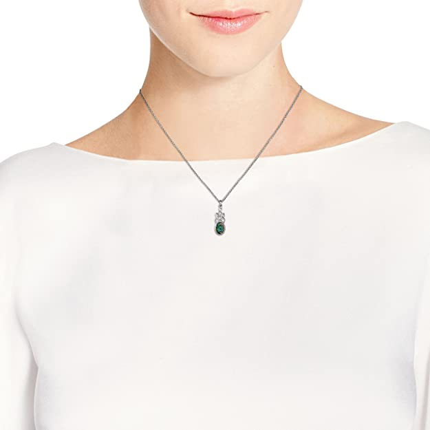 AeraVida Celtic Knot Oval Drop Peacock Abalone Shell Inlay .925 Sterling Silver Pendant Necklace