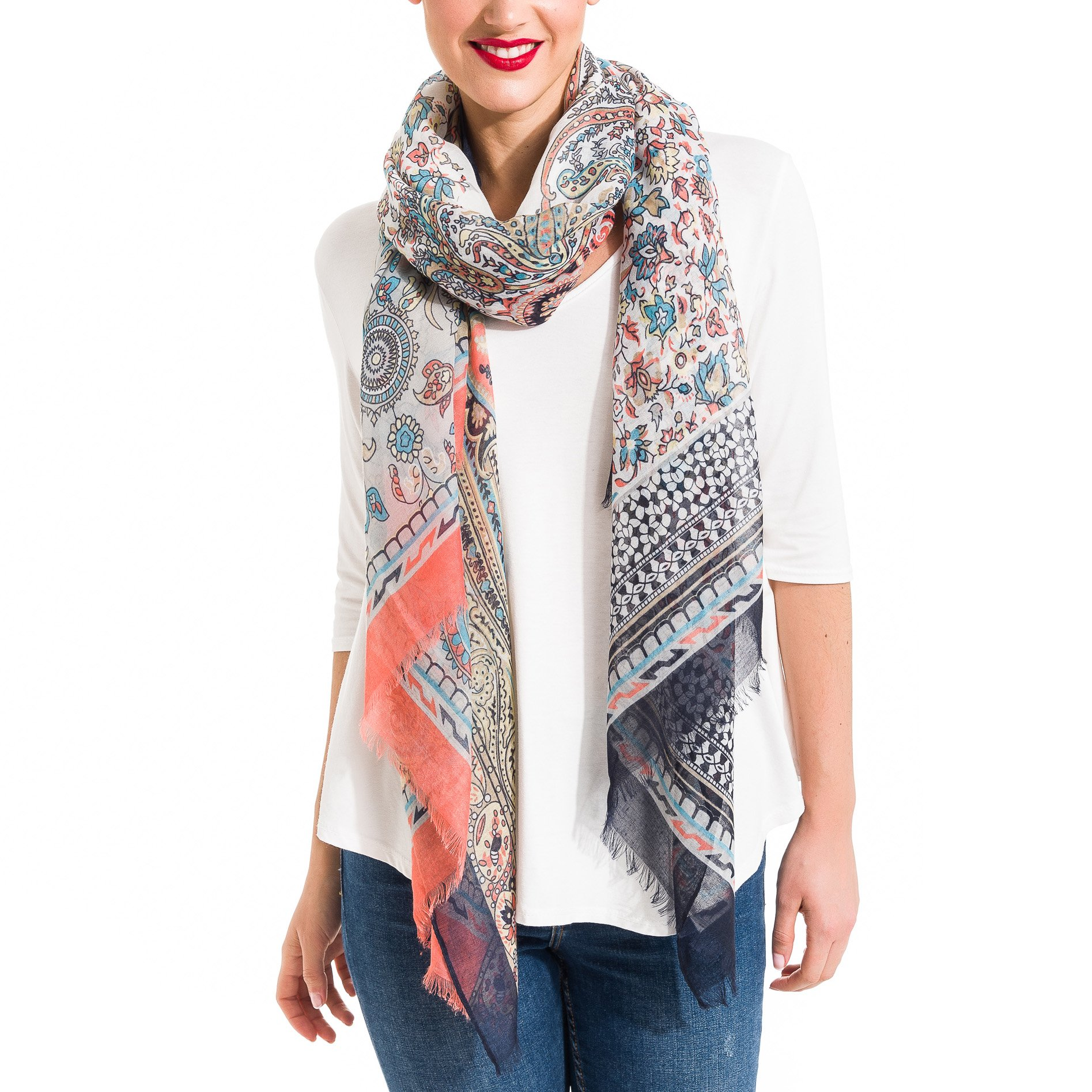 Scarf for Women Lightweight Paisley Fashion Fall Winter Scarves Shawl Wraps (P042-7)