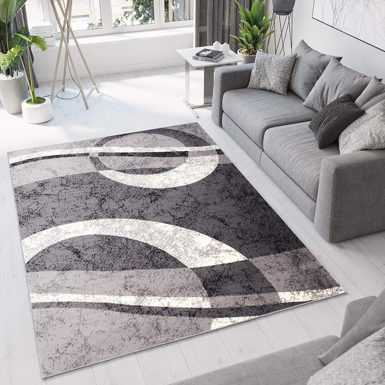 Tapiso Dream Teppich Wohnzimmer Modern Creme Grau Hellgrau Meliert Kreise Wellen Design Kurzflor Schlafzimmer Gästezimer Küche ÖKOTEX 180 x 250 cm