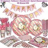 Unicorn Party Supplies, Unicorn Hanging Swirl Decorations, Unicorn Party Decorations, Unicorn Cupcake Topper, Unicorn Decor 284 piece set, Serves 16-By Party House