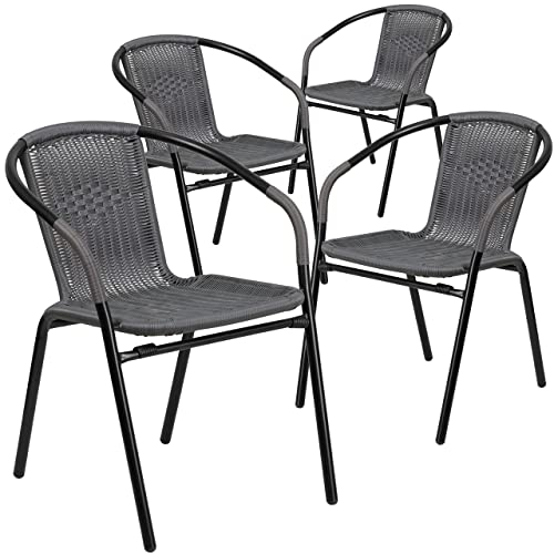 Flash Furniture 4 Pk. Gray Rattan Indoor-Outdoor Restaurant Stack Chair, 4-TLH-037-GY-GG