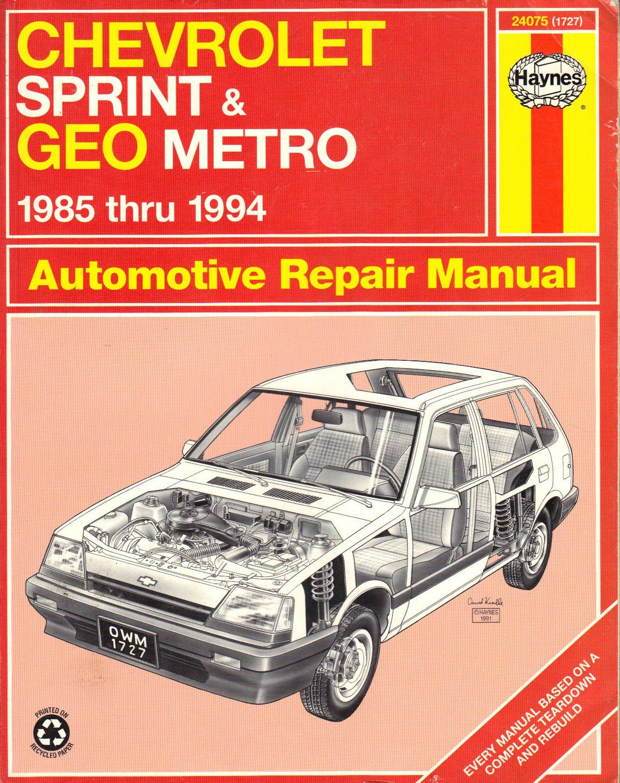 chevrolet sprint geo metro automotive repair manual 1985 thru 1994 rh  amazon com 1991 geo metro repair manual 1991 geo tracker repair manual