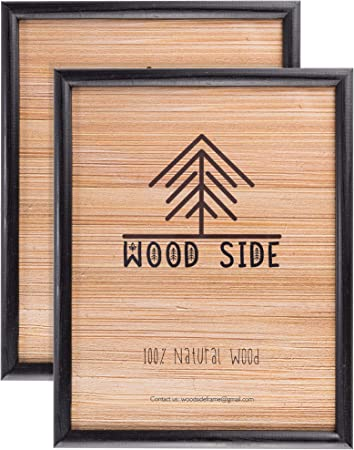 for Diploma Documents and Certificates Wood Side Company 8.5 x 11 Wooden Black Picture Frames Wall Mounting Set of 2