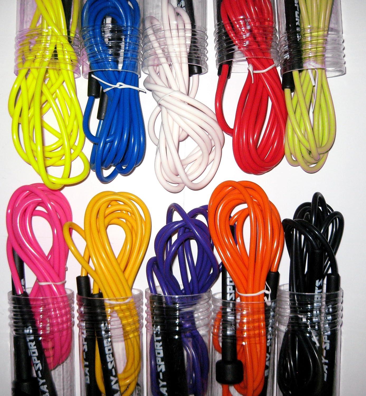 BAY Sports/® farbiges professional NEON Nylon Springseil 310 cm JUMP Rope schwarz wei/ß  purpur violett rot blau pink lila rosa gelb orange gr/ün PVC Seil Kunststoff Sprungseil bunt farbig profi 300 290 280