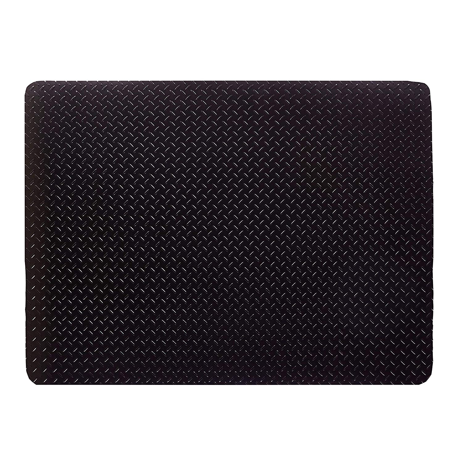 Resilia - Grill and Garage Protective Mat - Decorative Embossed Diamond Plate Pattern - Black, (3 Feet x 4 Feet)