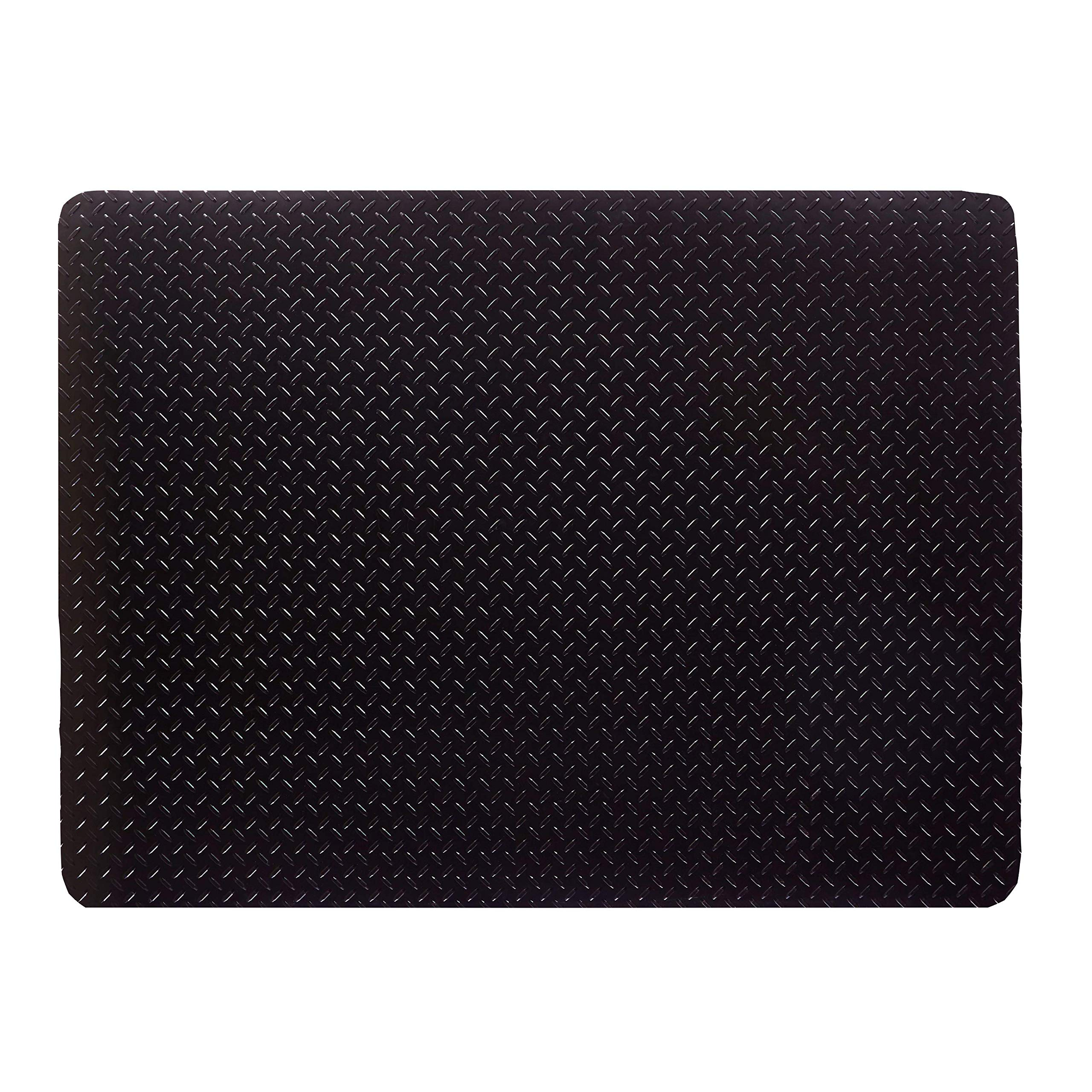 Reslia - Anti-Stain Grill and Garage Protective Mat - Decorative Embossed Diamond Plate Pattern - Black, (3 Feet x 4 Feet)