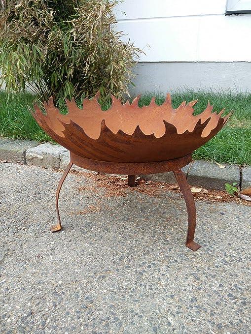 Zen Man - Recipiente para Hoguera de jardín (Metal Oxidado, 50 x 1, 8 x 12, 5 cm, Hecho a Mano): Amazon.es: Jardín