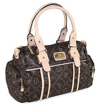 e0111fbeb6c94a 433 Giulia Pieralli Damen Glamour Handtasche Damentasche Tasche Henkeltasche  Kunstleder Schwarz Braun Beige Weiss (