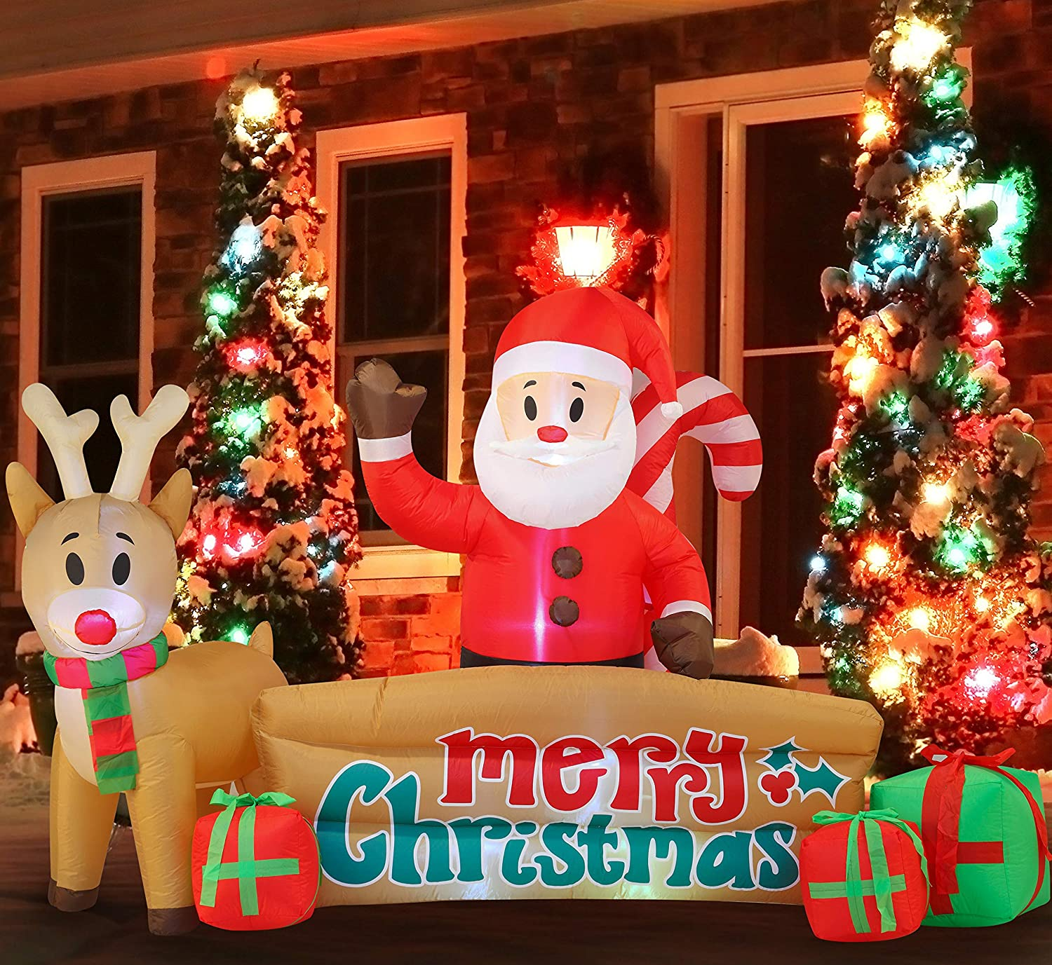 Christmas Inflatable Decoration 10 FT Xma Sante Merry Christmas Sign Inflatable with Build-in LEDs Blow Up for Indoor Outdoor Yard Garden Party Lawn Winter Decor.