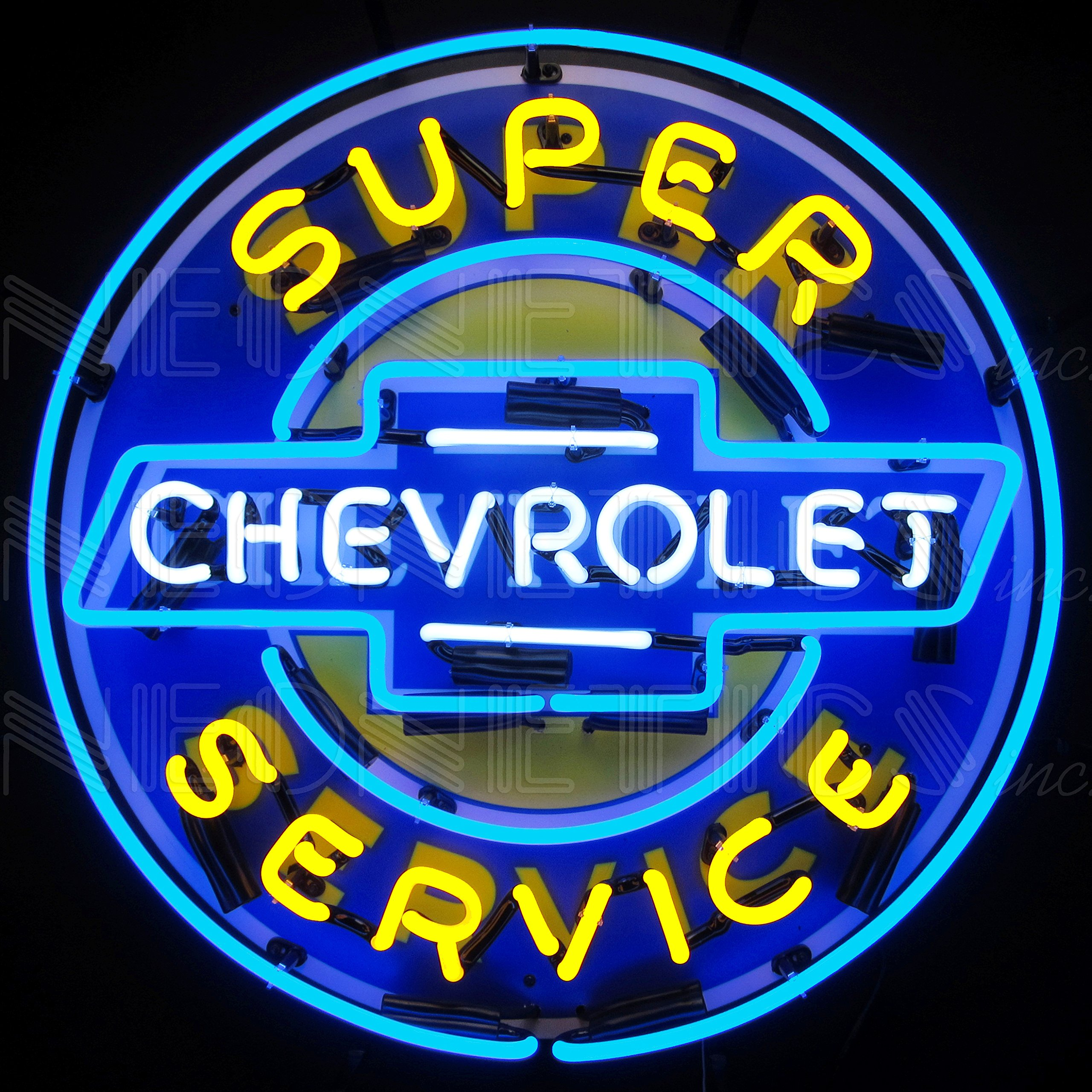 Neonetics Neon Sign Super Chevrolet Chevy Service 24inch x 24inch Yellow/Blue/White