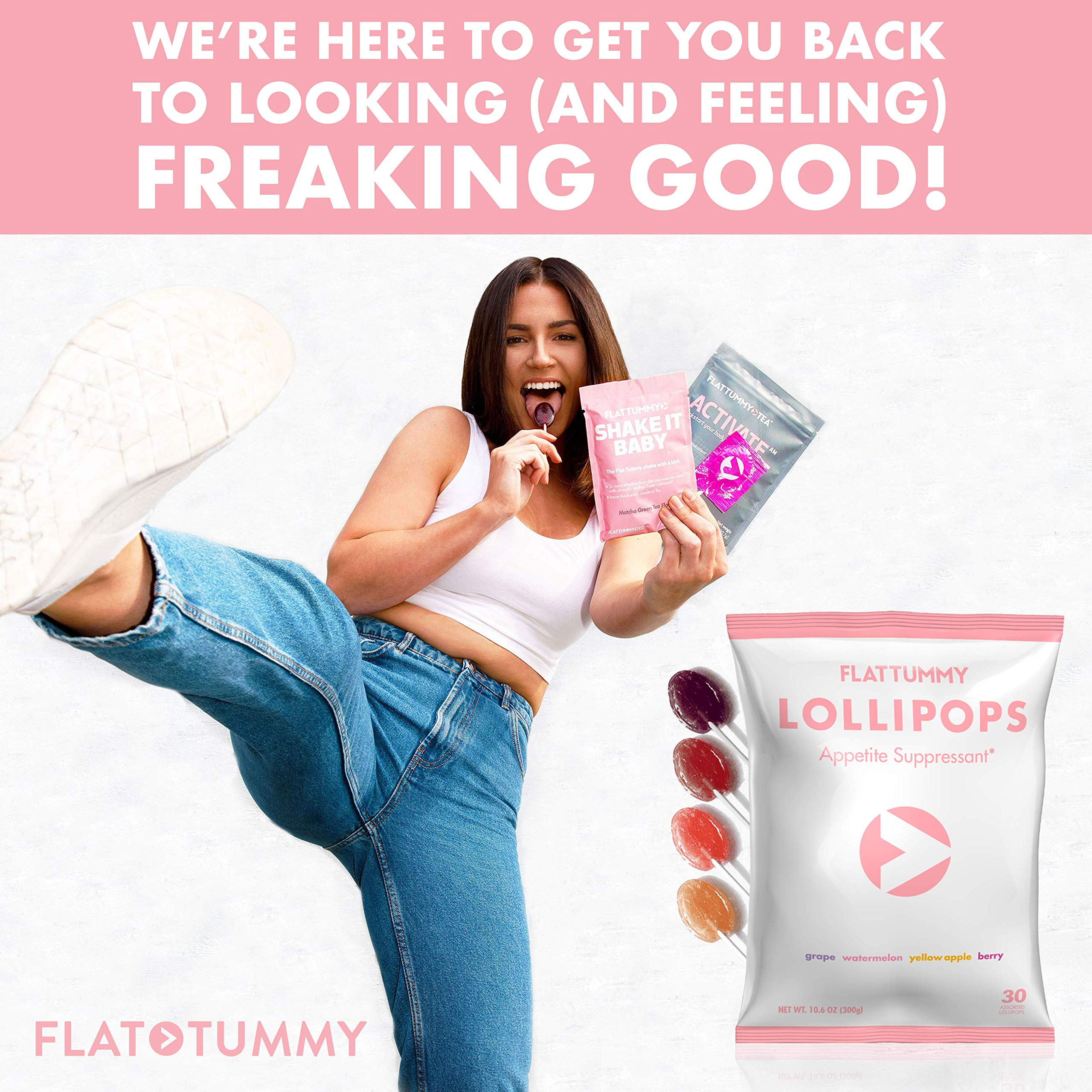 Flat Tummy Appetite Suppressant Lollipops | The Best All Natural Suckers, 4 Great Flavors + Apple, Grape, Watermelon & Berry + Suppress Cravings, The Perfect Low Calorie Diet Candy by Flat Tummy Co. (Image #7)
