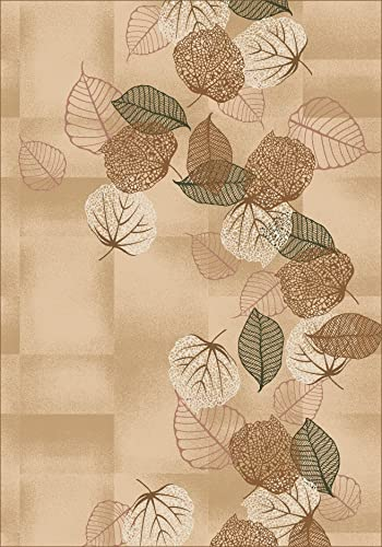 Milliken TOP 30 Dancing Leaves Area Rug Light Topaz 5 4 x7 8 Rectangle Nylon Tan