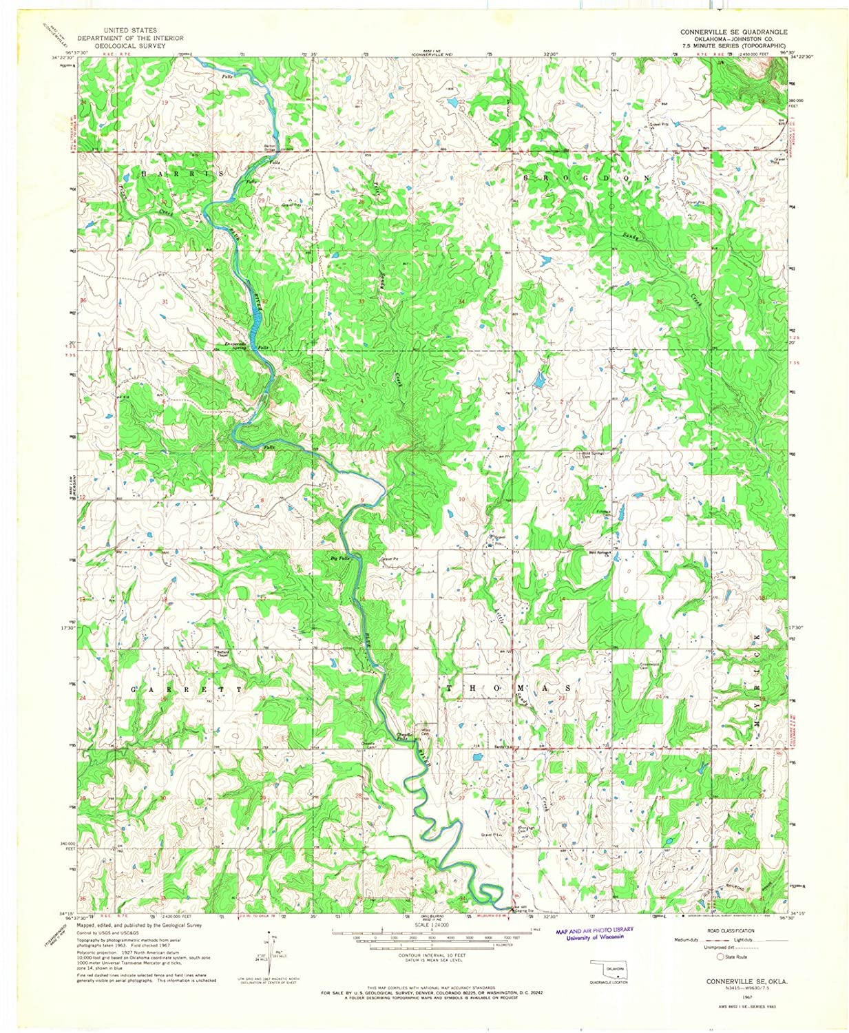 Amazon.com: Oklahoma Maps | 1967 Connerville, OK USGS Historical ...