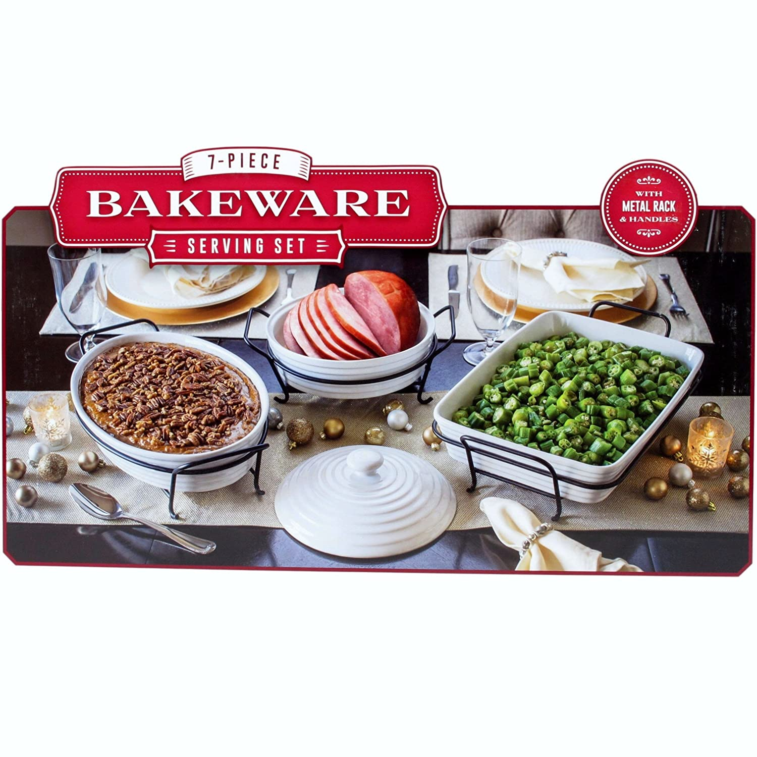 Ceramic 7 Piece Bakeware Serving Set With Metal Rack And Handles White Amazoncouk Kitchen Home