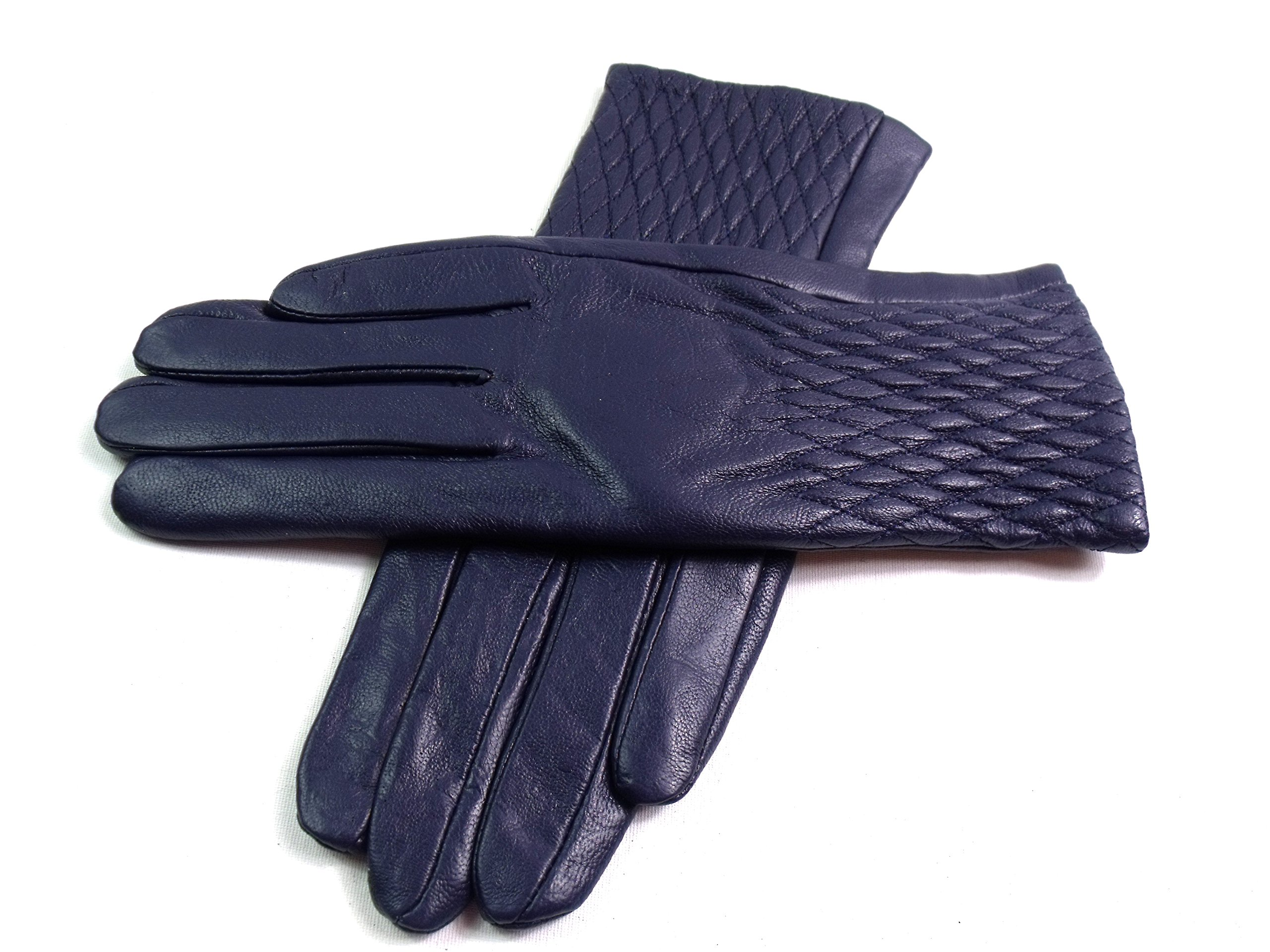 The Leather Emporium Women's Faux Fur Lined Gloves Winter Warm Diamond Detail Medium Navy Blue