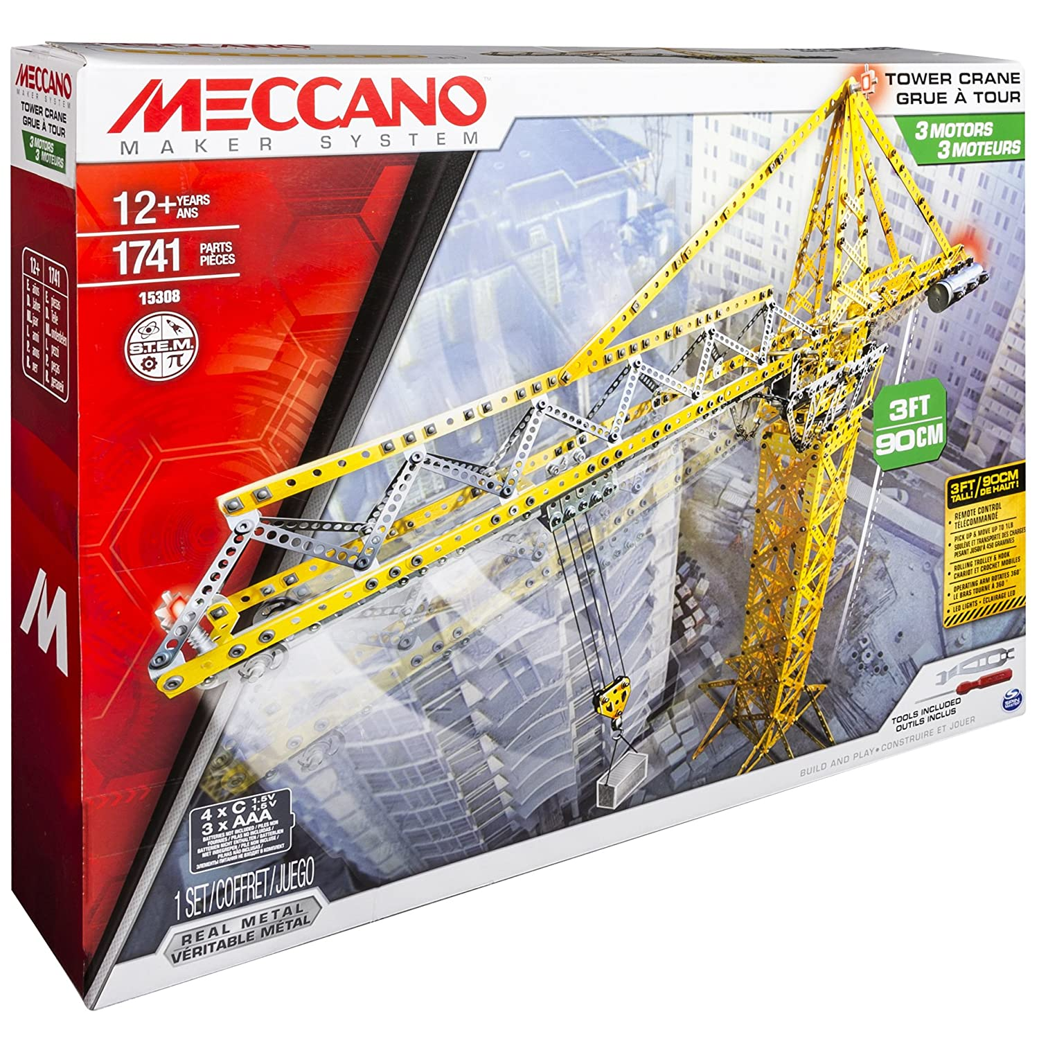 Meccano Motorised Tower Crane Construction Set With Remote M6024905 Motor Reversing Switches Electronics In Toys Games