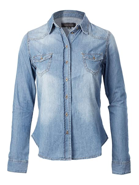 30abc8337d57 Instar Mode Women's Slim Fit Long Sleeves Chest Pocket Denim Chambray Shirts  Light Denim S