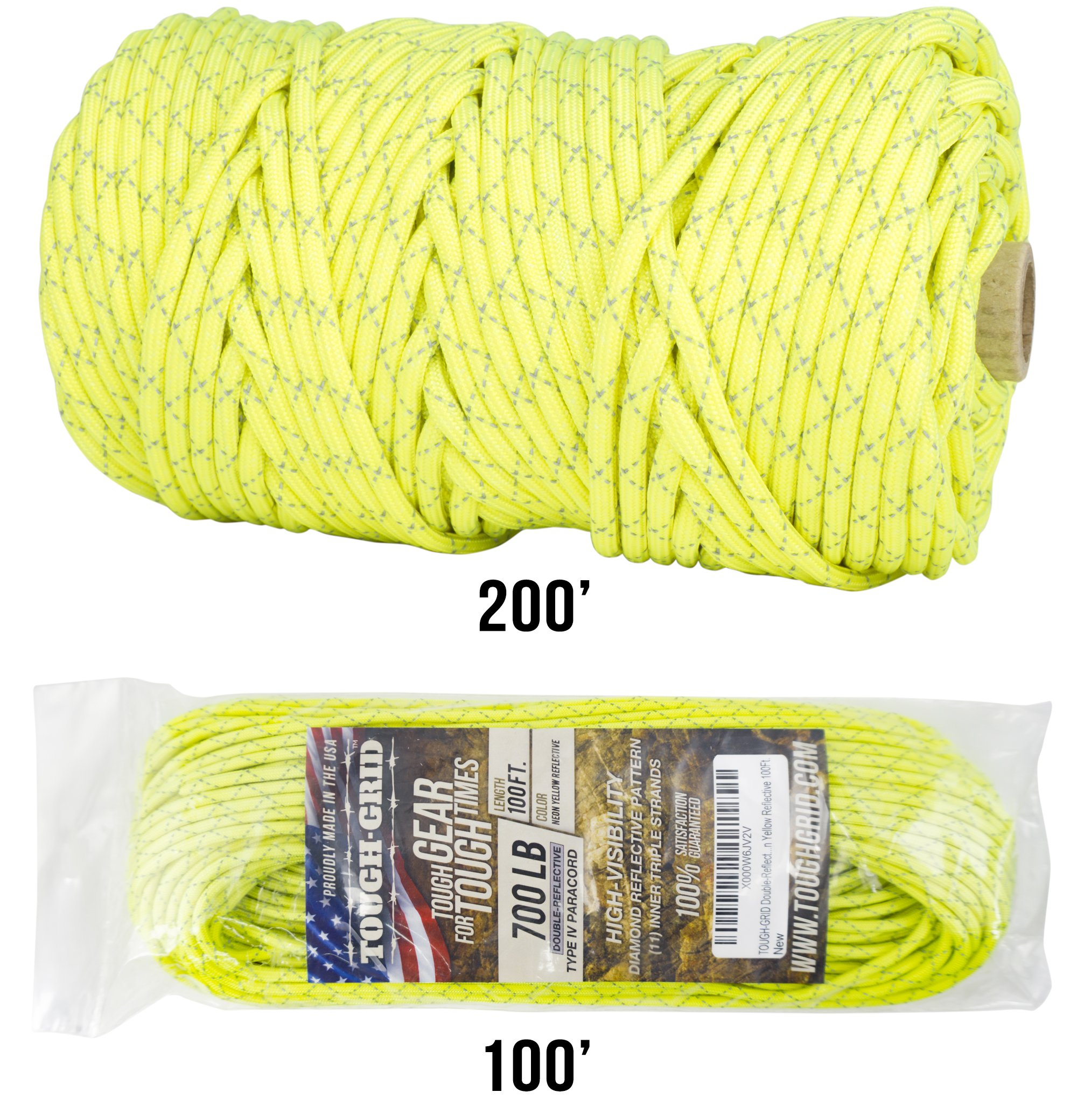 TOUGH-GRID New 700lb Double-Reflective Paracord/Parachute Cord - 2 Vibrant Retro-Reflective Strands for The Ultimate High-Visibility Cord - 100% Nylon - Made in USA - 100Ft. Neon Yellow Reflective