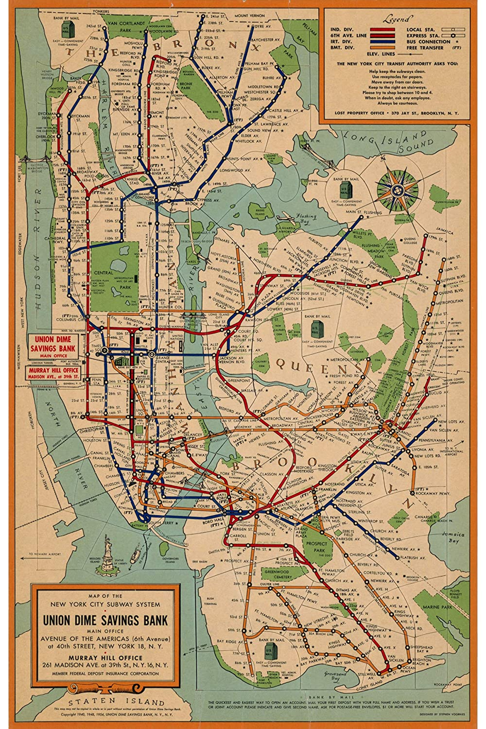Custom Art Nyc Subway Map.Nyc Subway Map Historical Reproduction Transportation System Created By Union Dime Savings Bank In 1954 Made To Order 16 X 24