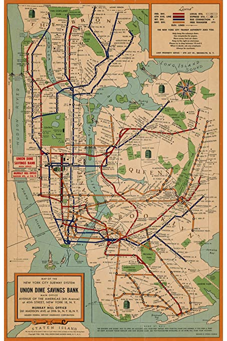 Madison Subway Map.Nyc Subway Map Historical Reproduction Transportation System Created By Union Dime Savings Bank In 1954 Made To Order 24 X 36