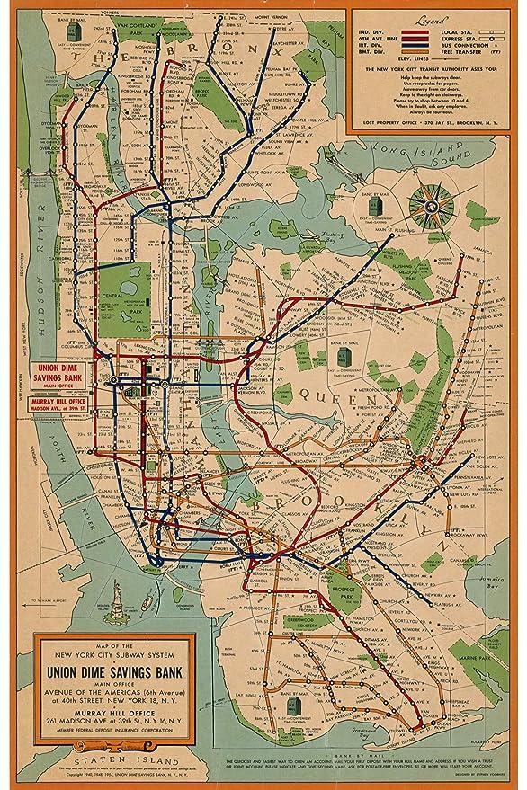 N Subway Map.Amazon Com Nyc Subway Map Historical Reproduction Transportation