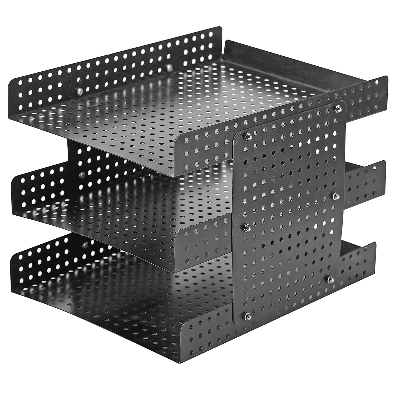 Black MyGift plastic Desktop File Holder with Adjustable Height Design 3 Tier Metal Document Tray