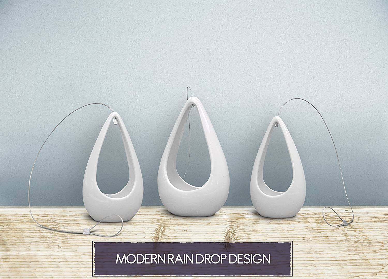 Amazon.com: 3 Pack Hanging Planter | White Ceramic Succulent Pots ...