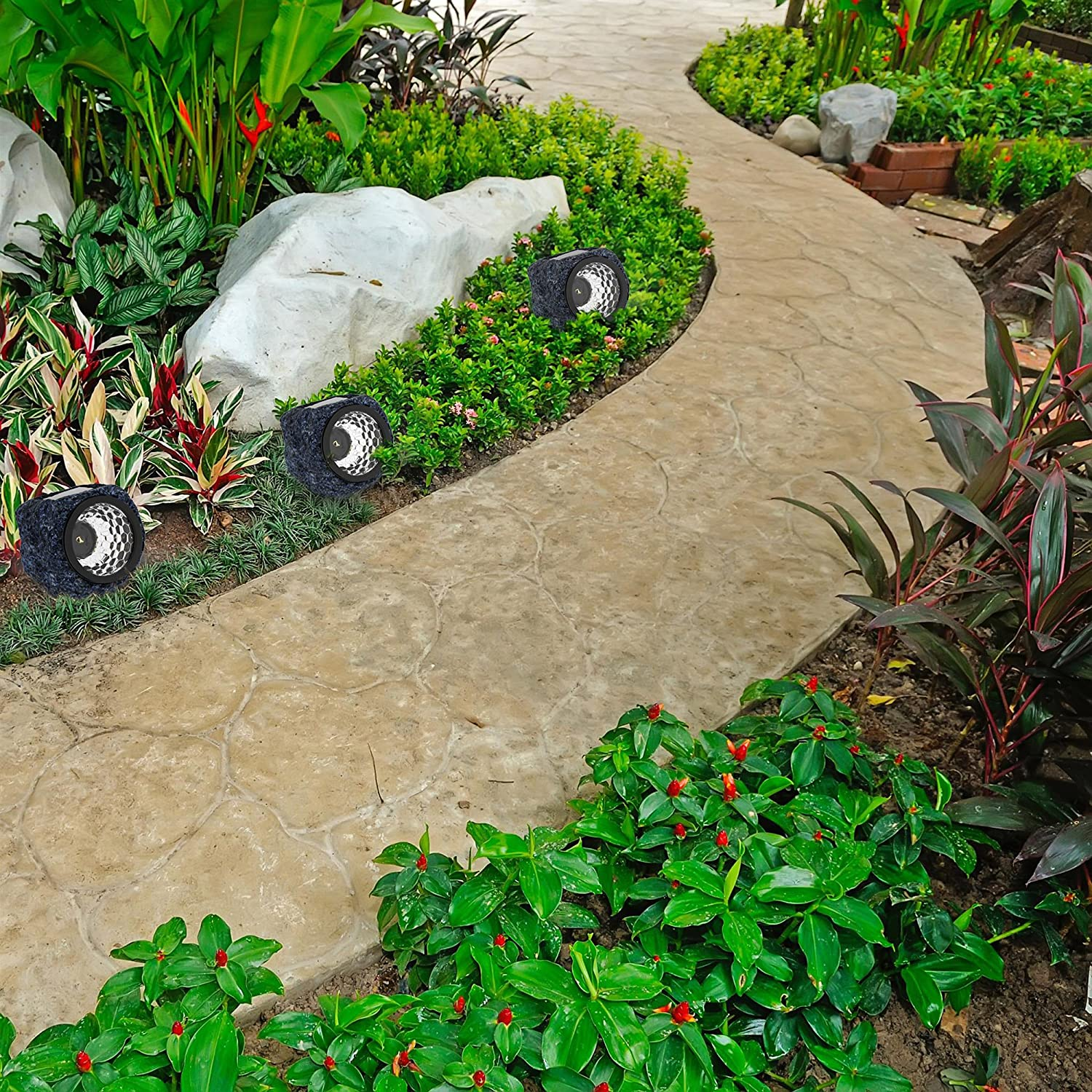 Solar Powered Rock Lights (Set Of Four) Led Outdoor Stone