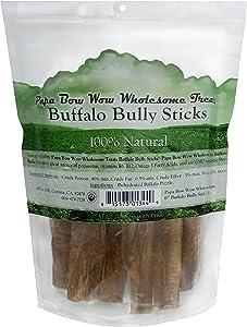 Papa Bow Wow Buffalo Treats for Dogs, Bully Stix 6in 1 lb