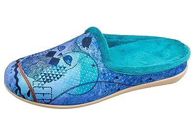 GIBRA® Damenpantoffeln Hausschuhe mit herausnehmbarer Sohle, dunkelblau, Gr. 42
