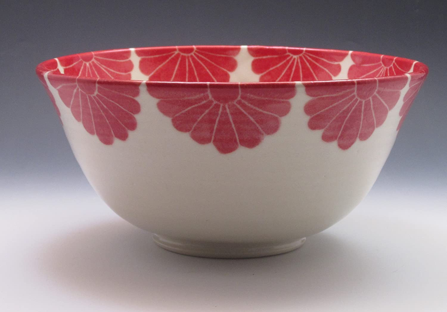 Porcelain Serving Bowl, hand thrown and hand painted in red flower design