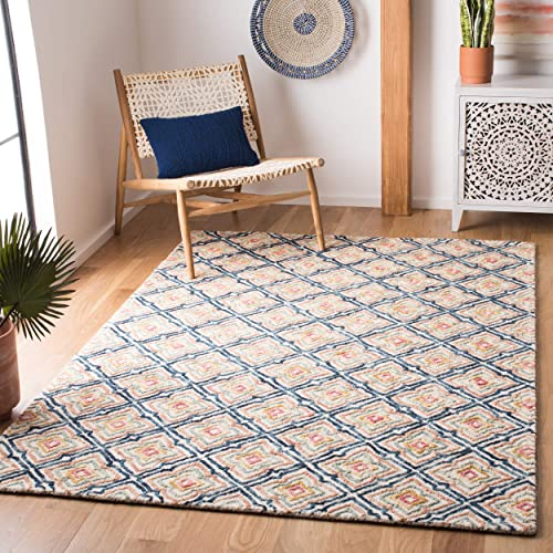 Safavieh Trace Collection TRC512A Handmade Wool Area Rug, 4 x 6 , Ivory Navy