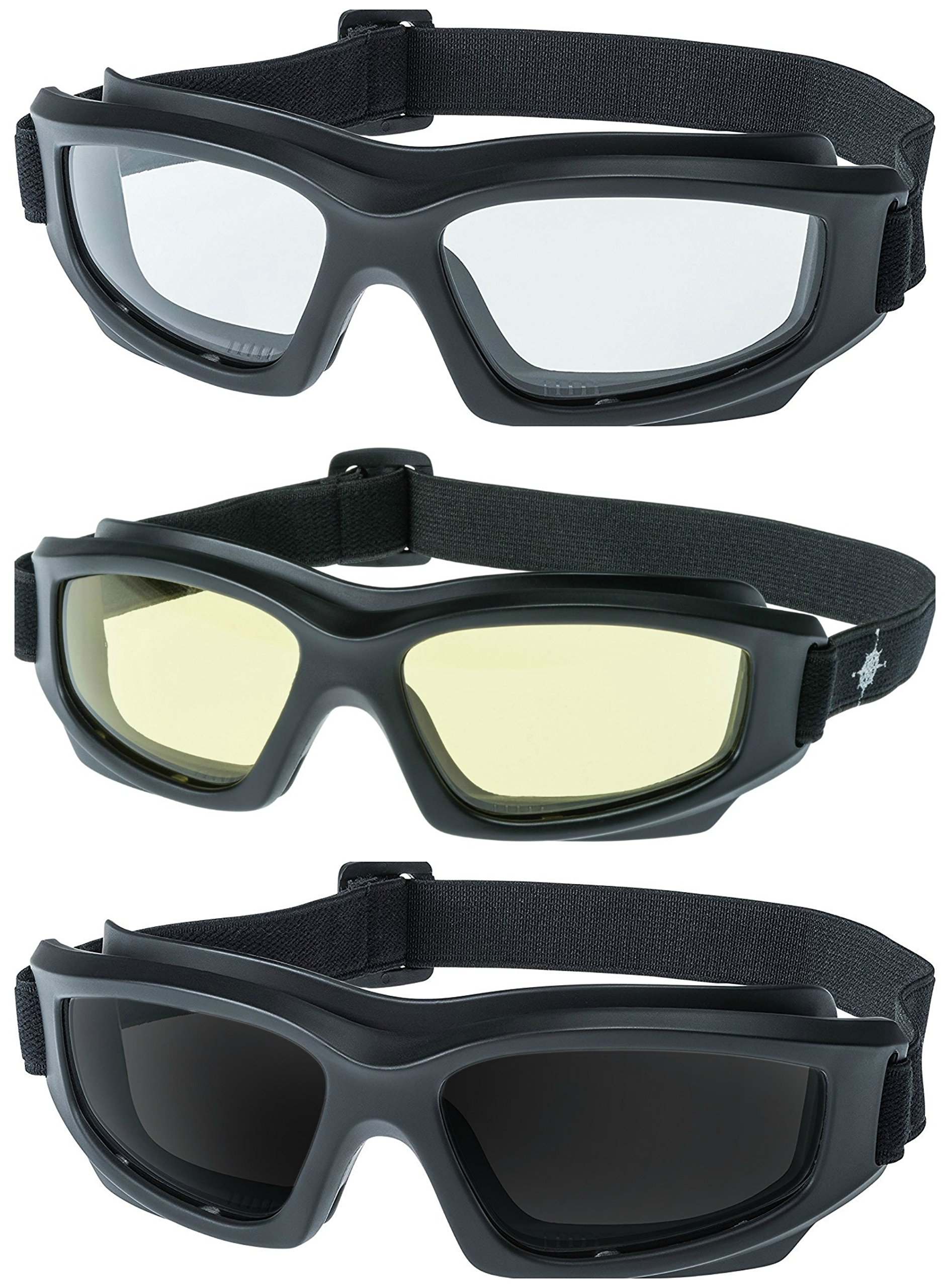 Motorcycle Riding Goggles: Heavy-Duty Riding Goggles''No Foam'' Design w/Hard Case, Microfiber Cleaning Cloth & Pouch Included (Set of 3)