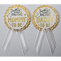 Mommy to Be & Daddy to Be Pin Twinkle Little Star Baby Shower Pin for parents to wear, White & Gold, It's a Girl, It's a Boy Baby Sprinkle