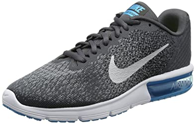 806237eed402a Nike Men's Air Max Sequent 2 Running Shoes Dark Grey/Black/Stealth/Metallic