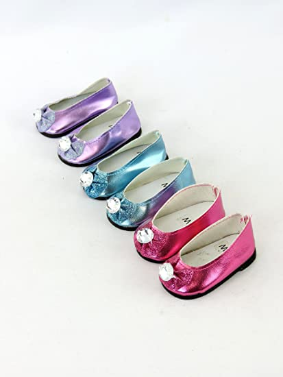 "**SALE** FUSHIA PINK Metallic Ballet Flats DOLL SHOES fit 18/"" AMERICAN GIRL DOLL"