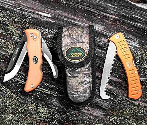 Outdoor Edge RazorPro Double Blade Hunting Knife and 4.5 Folding Saw Combo, Mossy Oak Sheath Blaze Orange