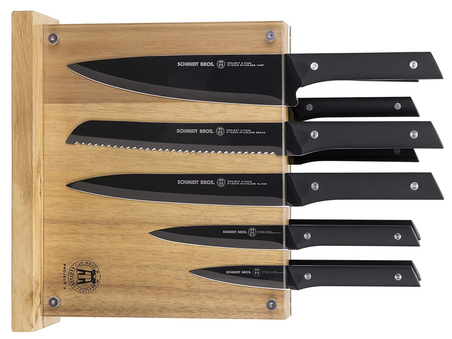 Project X by Schmidt Brothers 12 Piece Hudson Home Group 22 Knife Set, Black