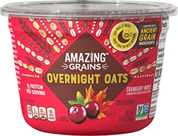 6-Pack Amazing Grains Cranberry 2.15 oz Cup Maple Overnight Oats
