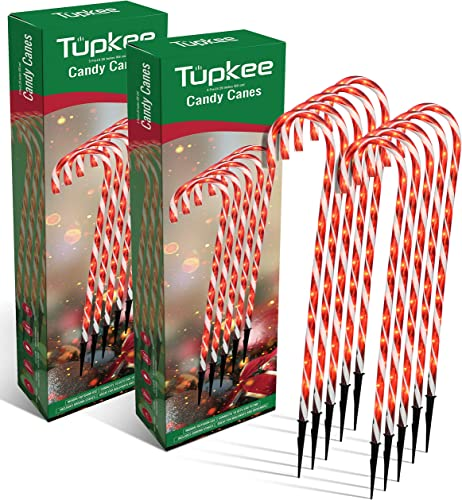 Tupkee Pre-Lit Candy Cane Decorations -Pathway Christmas Lights, 26-Inches 66 cm , Set of 5, Outdoor Christmas Decorations Yard Candycane Lights – 2 Pack Total 10 Lights