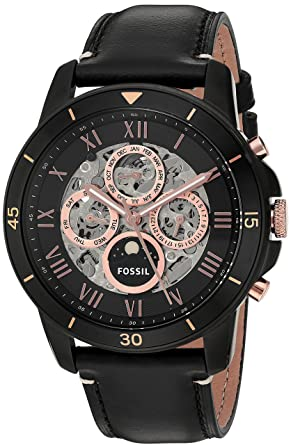 ace869cebd79d Image Unavailable. Image not available for. Color  Fossil Men s ME3138 Grant  Sport Automatic Black Leather Watch