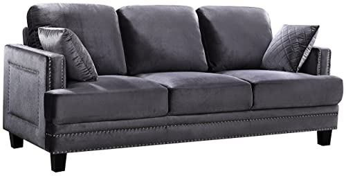 Meridian Furniture Ferrara Velvet Upholstered Sofa with Square Arms, Silver Nailhead Trim, and Custom Solid Wood Legs, Grey