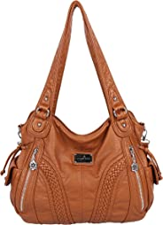 Angelkiss Handbags for Women Top-Handle Satchel Shoulder Bag Messenger Tote Washed Leather Purses Bag with Zipper Closure by